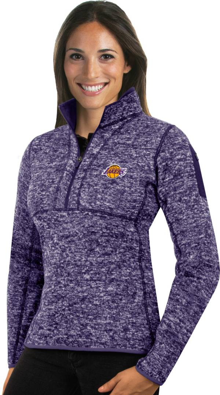 Antigua Women's Los Angeles Lakers Fortune Purple Half-Zip Pullover product image