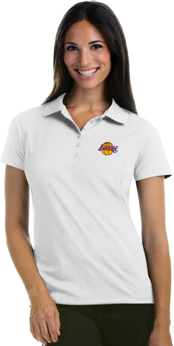 Antigua Women's Los Angeles Lakers Xtra-Lite White Pique Performance Polo product image