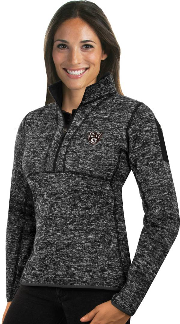 Antigua Women's Brooklyn Nets Fortune Black Half-Zip Pullover product image