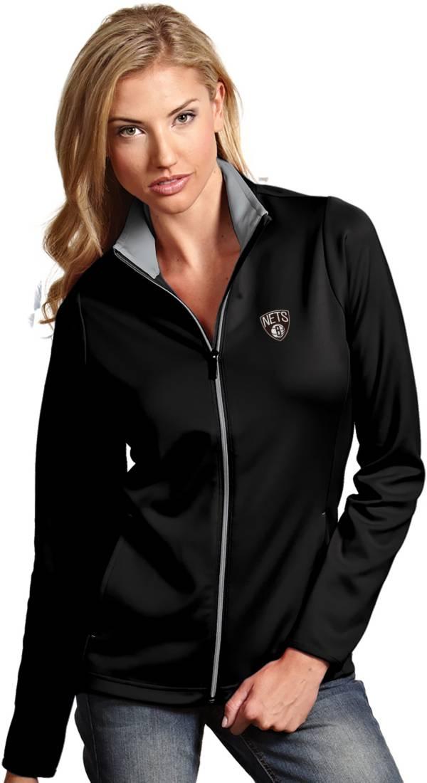 Antigua Women's Brooklyn Nets Leader Black Full-Zip Fleece product image