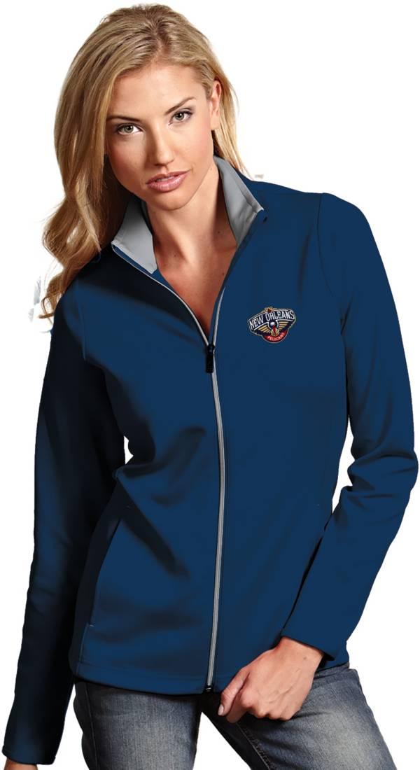 Antigua Women's New Orleans Pelicans Leader Navy Full-Zip Fleece product image