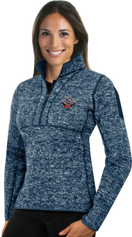 Antigua Women's New Orleans Pelicans Fortune Navy Half-Zip Pullover product image
