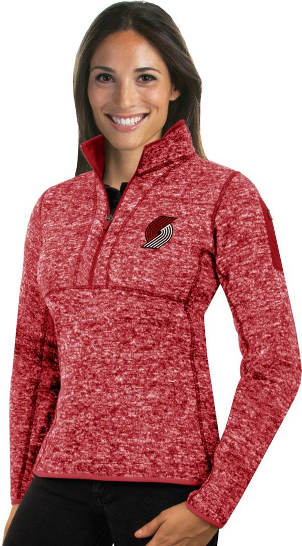 Antigua Women's Portland Trail Blazers Fortune Red Half-Zip Pullover product image