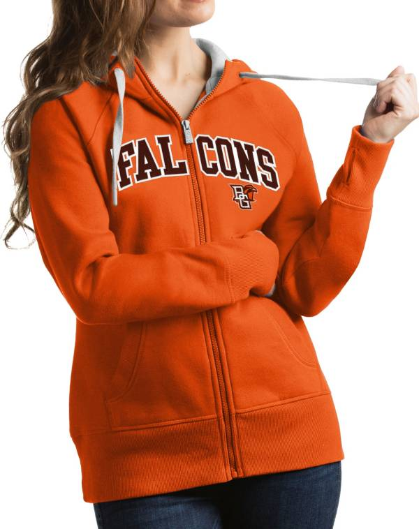 Antigua Women's Bowling Green Falcons Orange Victory Full-Zip Hoodie product image