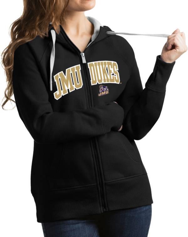 Antigua Women's James Madison Dukes Black Victory Full-Zip Hoodie product image