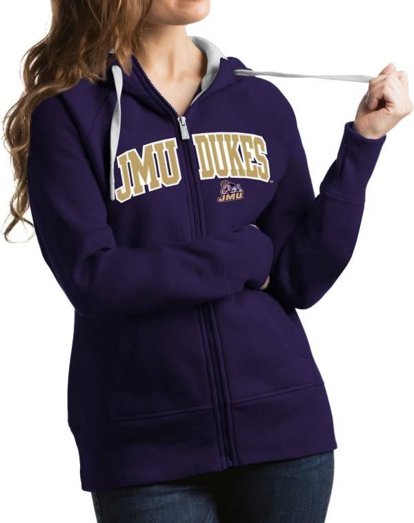 Antigua Women's James Madison Dukes Purple Victory Full-Zip Hoodie product image