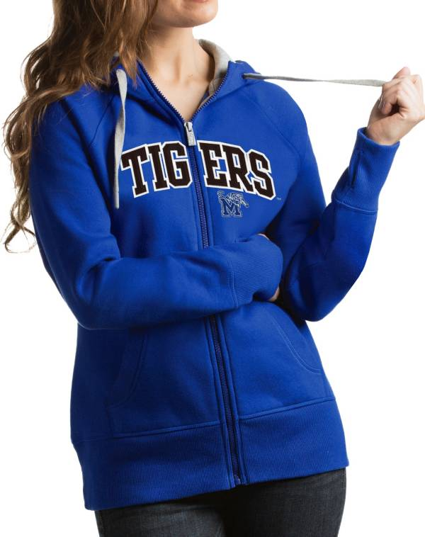Antigua Women's Memphis Tigers Blue Victory Full-Zip Hoodie product image
