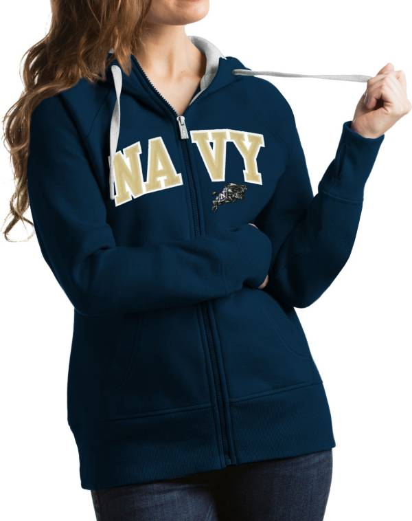 Antigua Women's Navy Midshipmen Navy Victory Full-Zip Hoodie product image