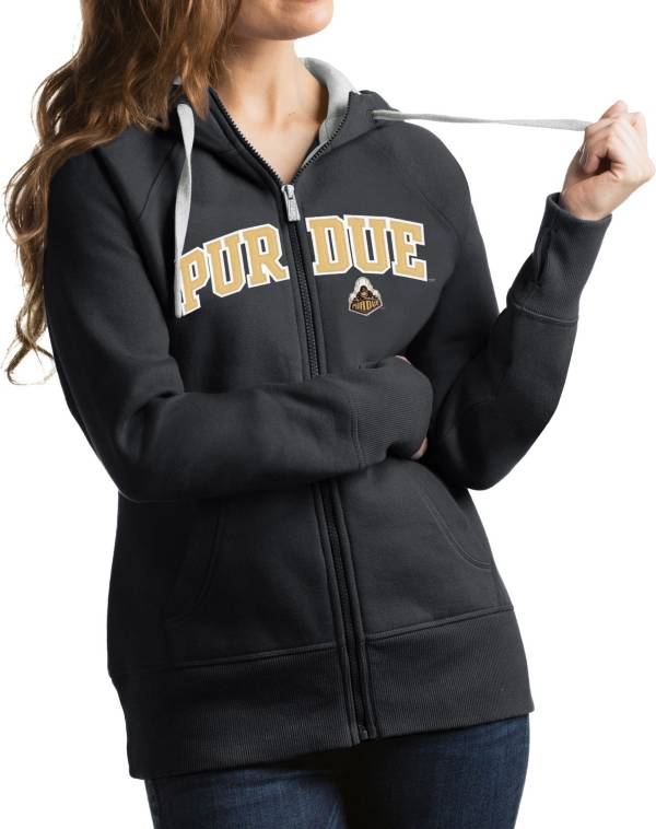 Antigua Women's Purdue Boilermakers Grey Victory Full-Zip Hoodie product image