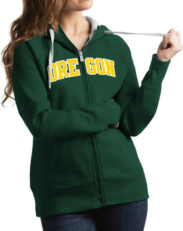 Antigua Women's Oregon Ducks Green Victory Full-Zip Hoodie product image