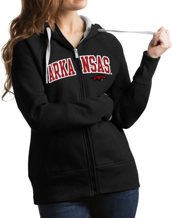 Antigua Women's Arkansas Razorbacks Black Victory Full-Zip Hoodie product image
