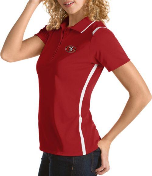 2af57a6bd Antigua Women s San Francisco 49ers Merit Red Xtra-Lite Pique Polo ...