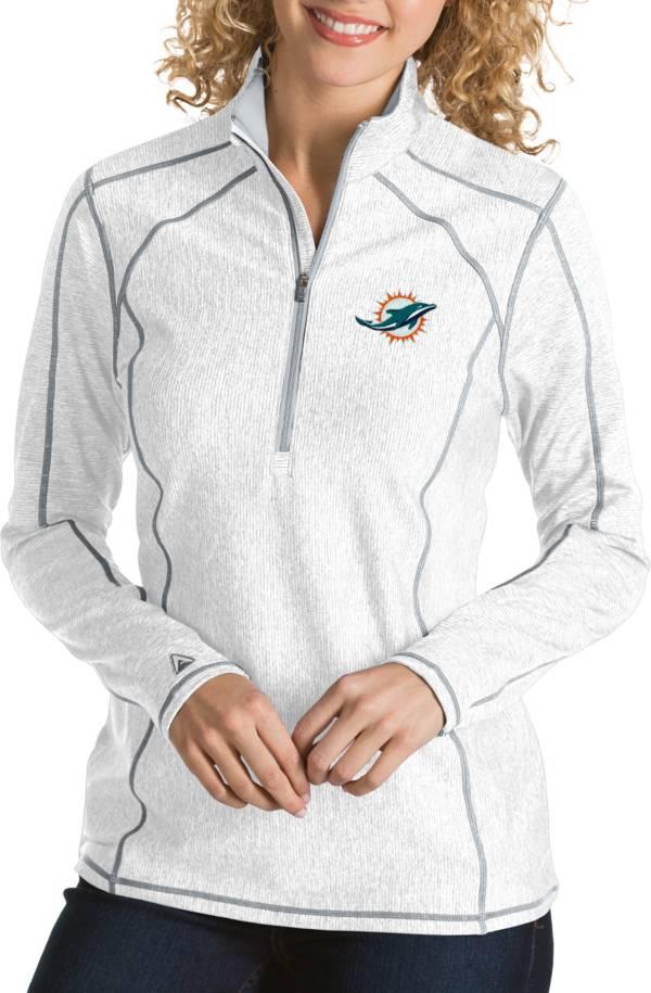 Antigua Women's Miami Dolphins Tempo White Quarter-Zip Pullover product image