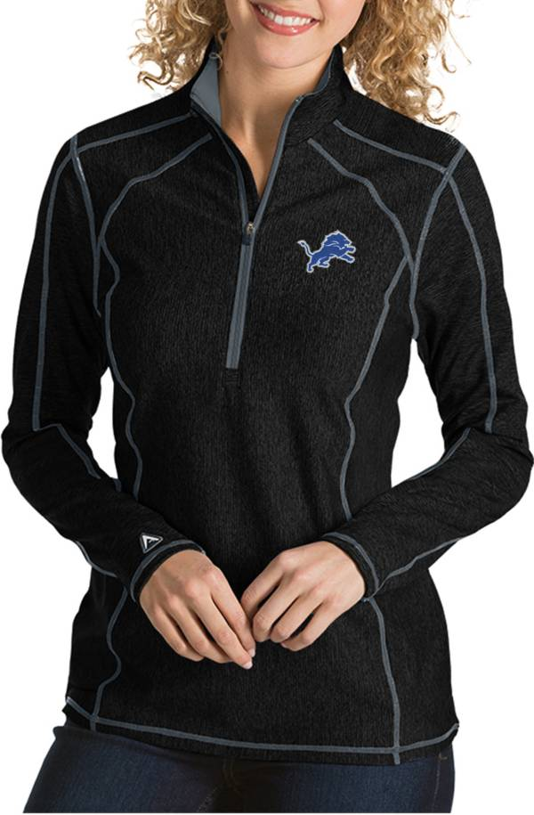 Antigua Women's Detroit Lions Tempo Black Quarter-Zip Pullover product image