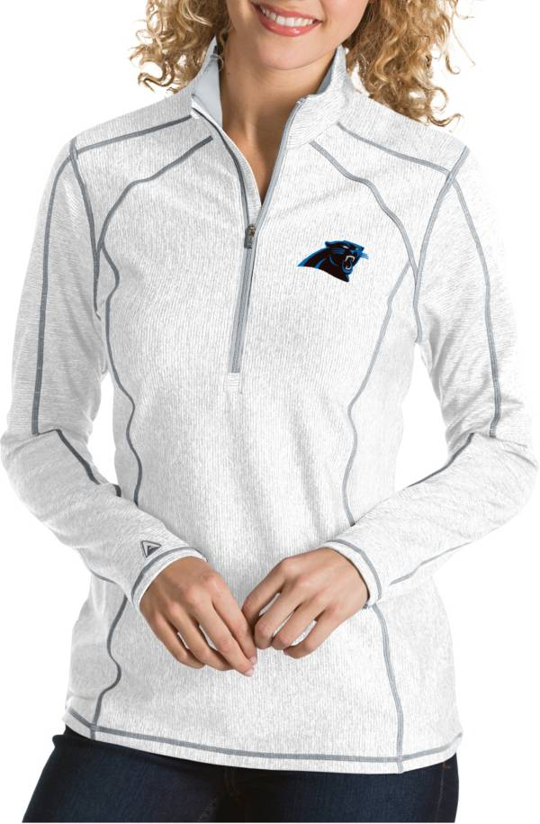 Antigua Women's Carolina Panthers Tempo White Quarter-Zip Pullover product image