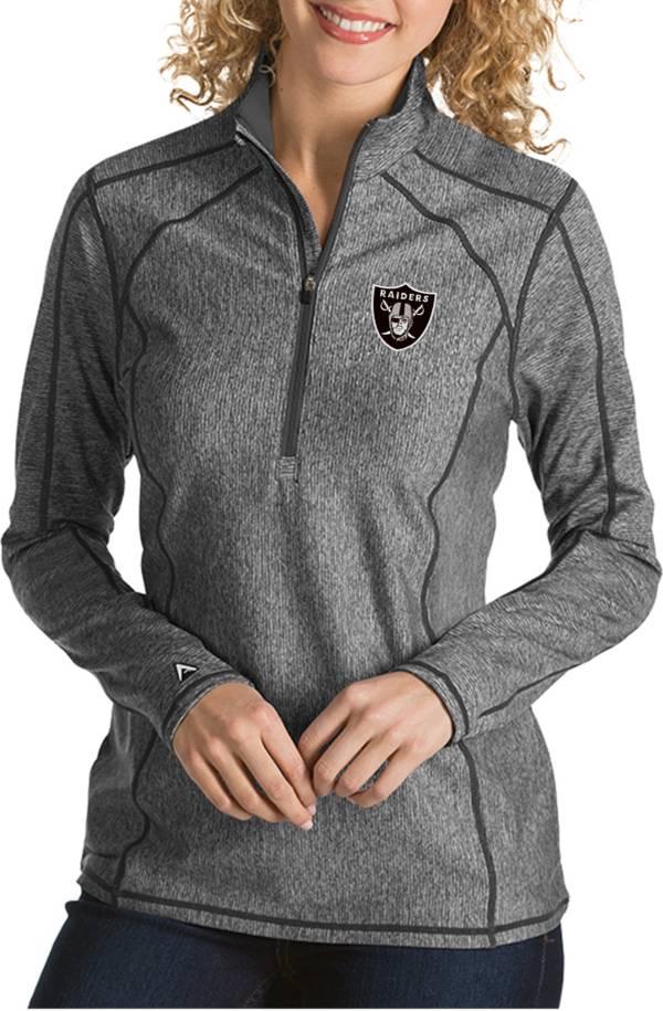 Antigua Women's Las Vegas Raiders Tempo Grey Quarter-Zip Pullover product image