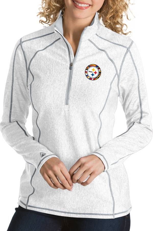 Antigua Women's Pittsburgh Steelers Quick Snap Logo Tempo White Quarter-Zip Pullover product image