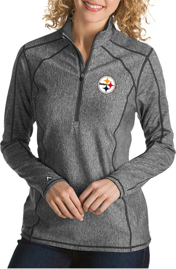 Antigua Women's Pittsburgh Steelers Tempo Grey Quarter-Zip Pullover product image