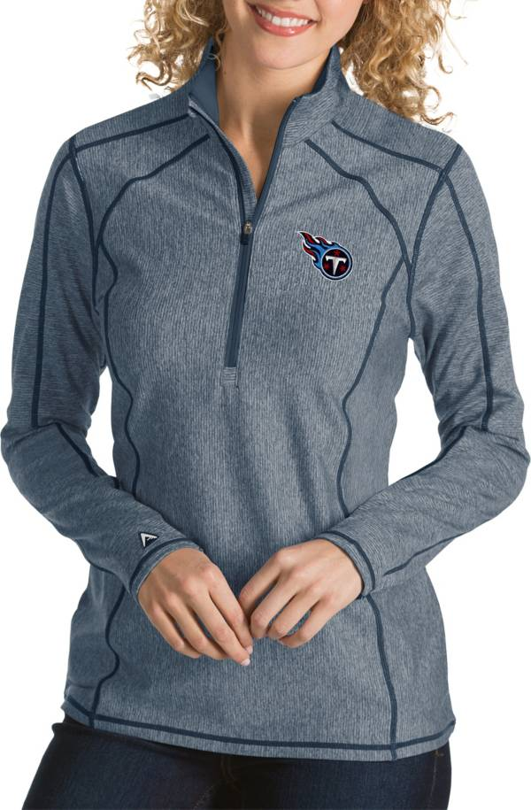 Antigua Women's Tennessee Titans Tempo Navy Quarter-Zip Pullover product image