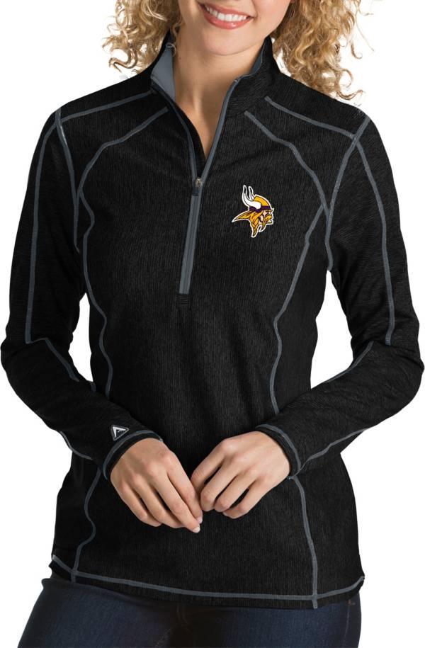 Antigua Women's Minnesota Vikings Tempo Black Quarter-Zip Pullover product image