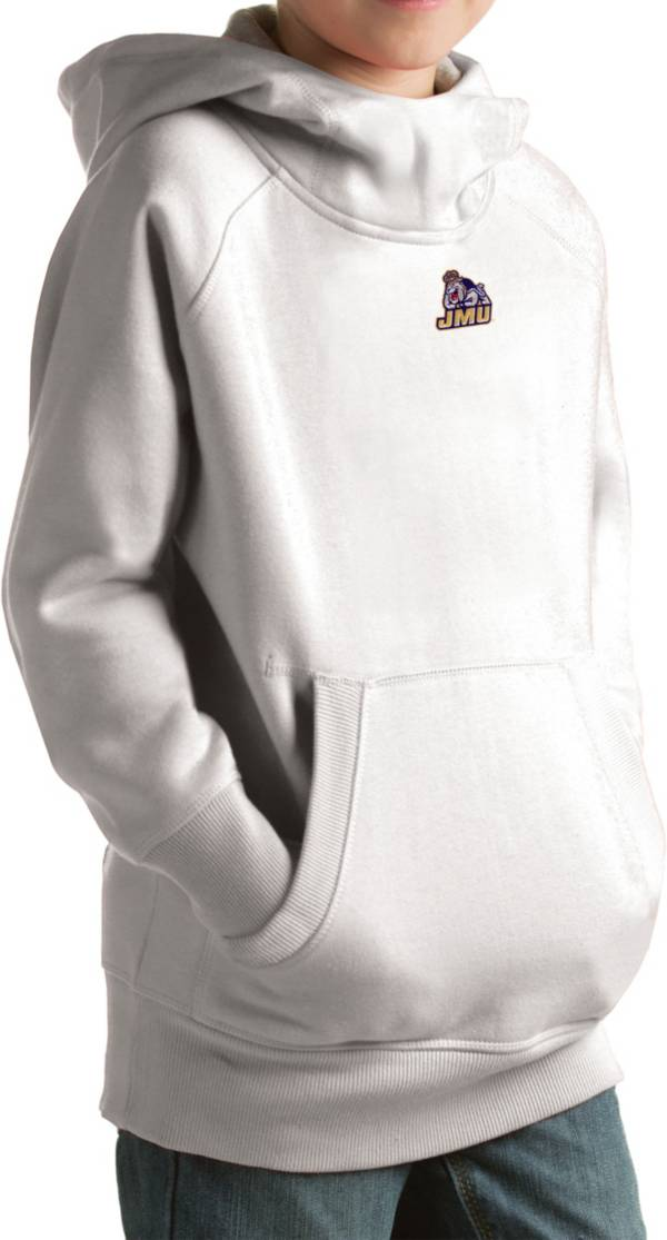 Antigua Youth James Madison Dukes White Victory Pullover Hoodie product image