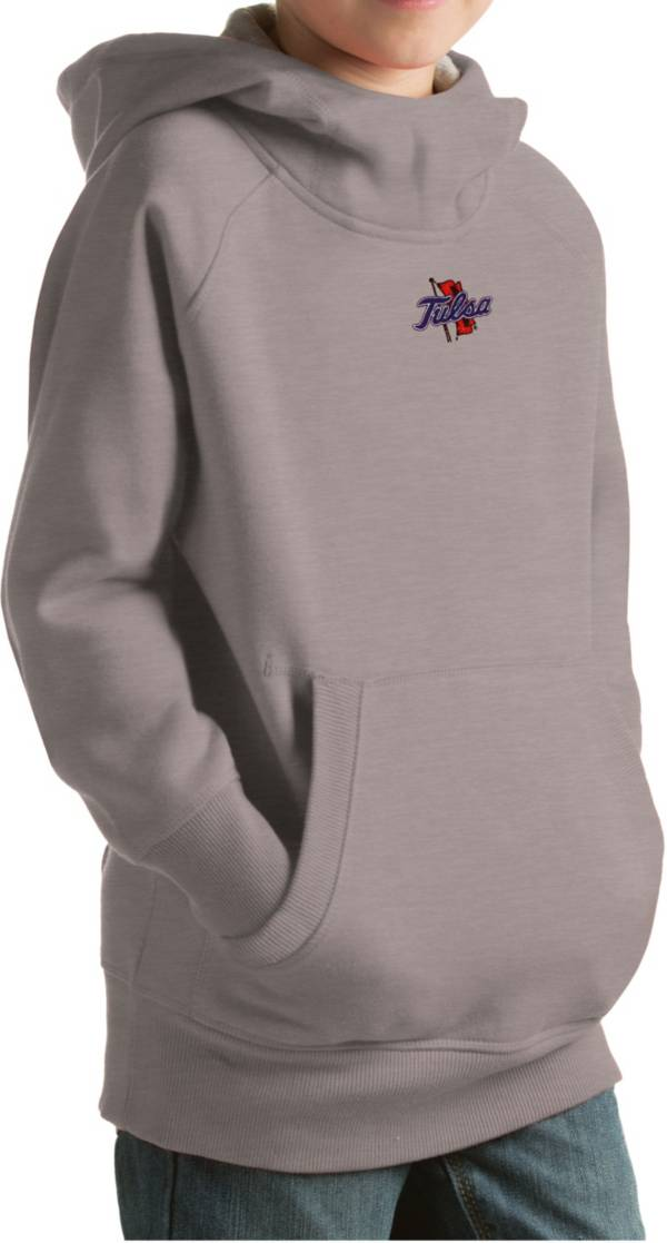 Antigua Youth Tulsa Golden Hurricane Grey Victory Pullover Hoodie product image
