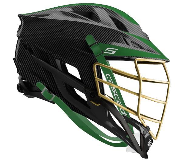 Cascade Custom S Carbon Fiber Lacrosse Helmet w/ Gold Pearl Mask product image