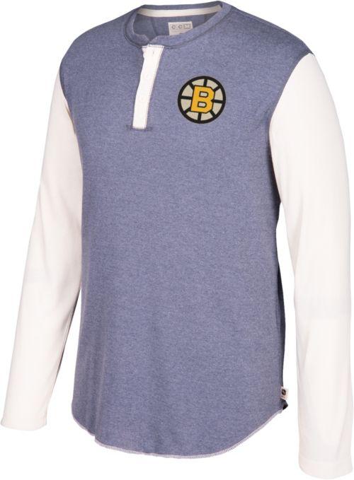d4025e77496 CCM Men s Boston Bruins Henley Grey Long Sleeve Shirt