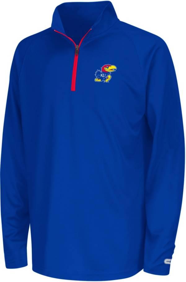 Colosseum Youth Kansas Jayhawks Blue Draft Performance Quarter-Zip Pullover Shirt product image