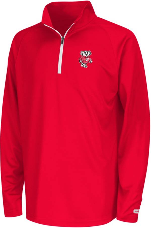 Colosseum Youth Wisconsin Badgers Red Draft Performance Quarter-Zip Pullover Shirt product image