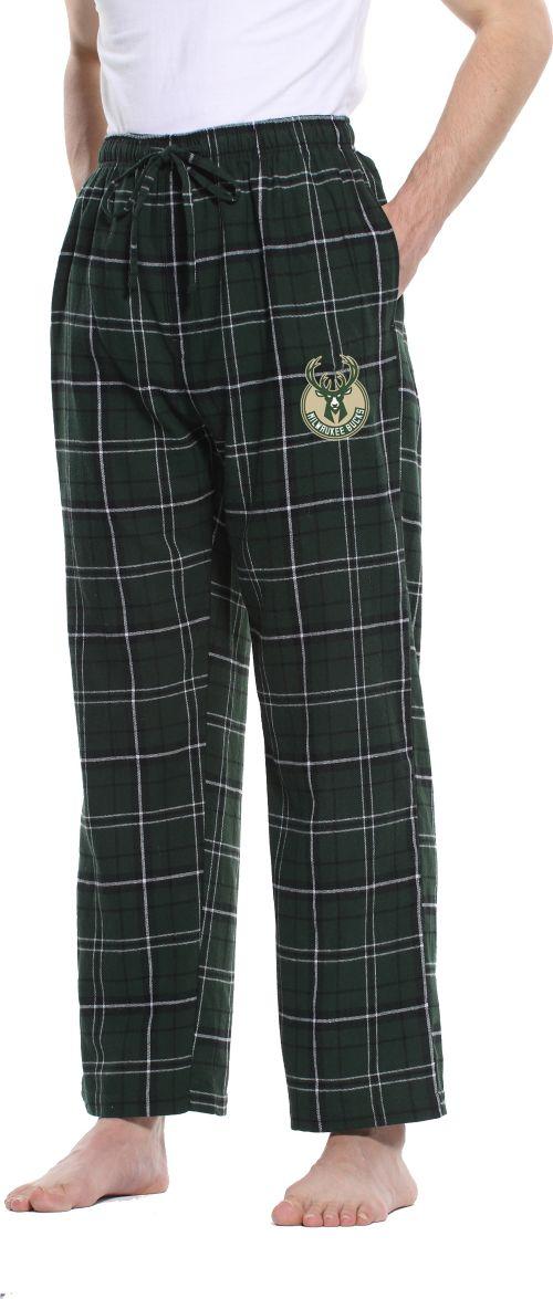 Concepts Sport Men s Milwaukee Bucks Plaid Flannel Pajama Pants ... 26a160a29