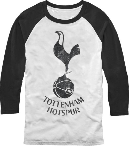 f0137400f Fifth Sun Men's Tottenham Hotspur Logo White/Black Three Quarter Length  Sleeve Raglan T-Shirt. noImageFound. 1