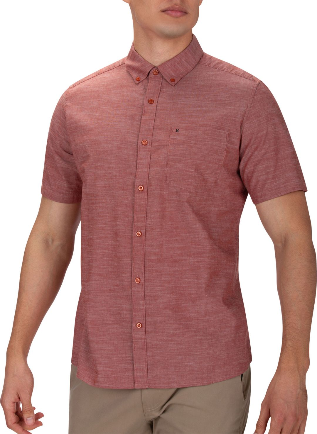 7889381eaccb56 Hurley Men's One & Only 2.0 Woven Short Sleeve Shirt. noImageFound.  Previous. 1