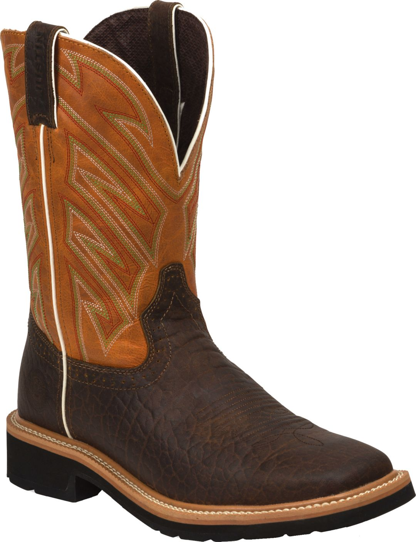 4e52ba79447 Justin Men's Stampede Square Toe Western Work Boots