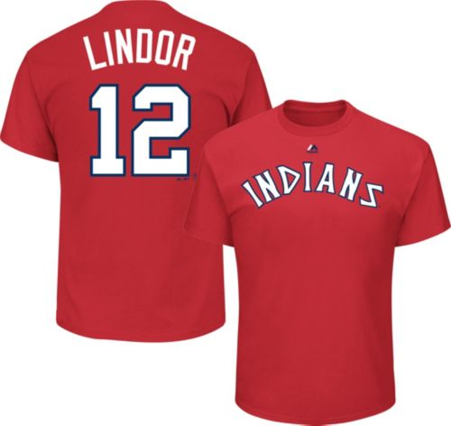 828a18153 Majestic Men s Cleveland Indians Francisco Lindor  12 Cooperstown Red T- Shirt. noImageFound. Previous