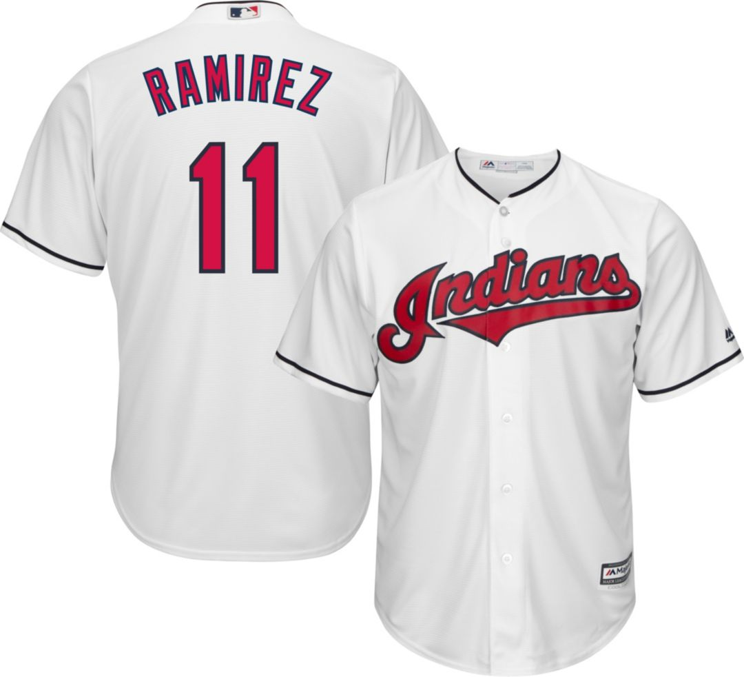size 40 32b8e f47e5 Majestic Men's Replica Cleveland Indians Jose Ramirez #11 Cool Base Home  White Jersey