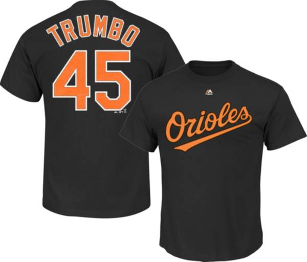 Majestic Men's Baltimore Orioles Mark Trumbo #45 Black T-Shirt product image