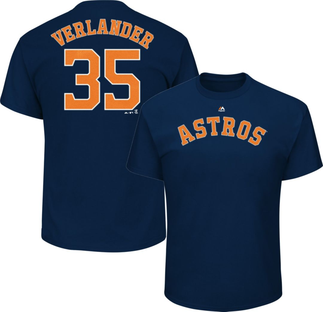 cheaper f4169 4c3c3 Majestic Men's Houston Astros Justin Verlander #35 Navy T-Shirt