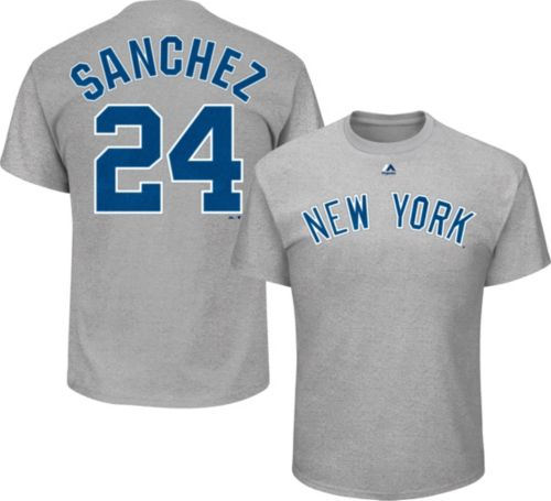 Majestic Men s New York Yankees Gary Sanchez  24 Grey T-Shirt ... 0a0aa8f1bb8