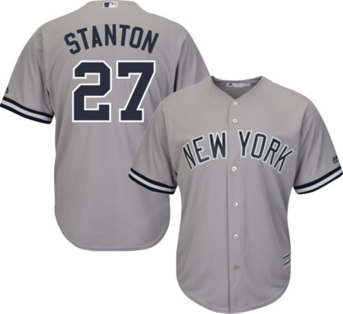 4b24552d4 Majestic Men's Replica New York Yankees Giancarlo Stanton #27 Cool Base  Road Grey Jersey. noImageFound. Previous. 1