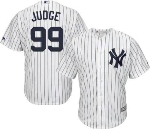 5ba5695cc0c Majestic Men s Replica New York Yankees Aaron Judge  99 Cool Base Home White  Jersey