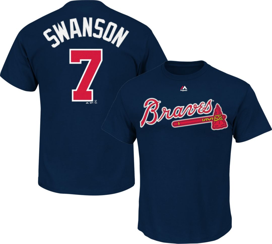 best website 32413 2743a Majestic Youth Atlanta Braves Dansby Swanson #7 Navy T-Shirt