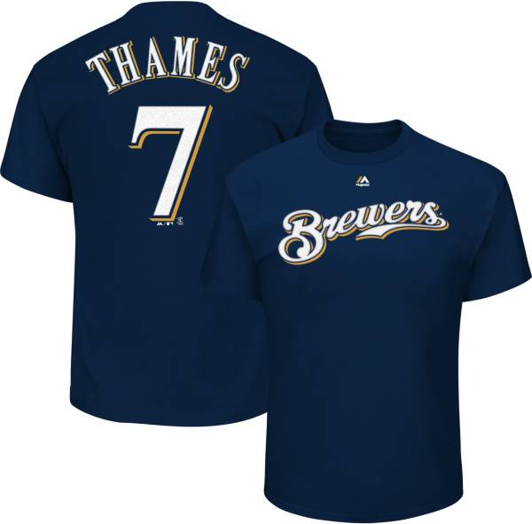 Majestic Youth Milwaukee Brewers Eric Thames #7 Navy T-Shirt product image