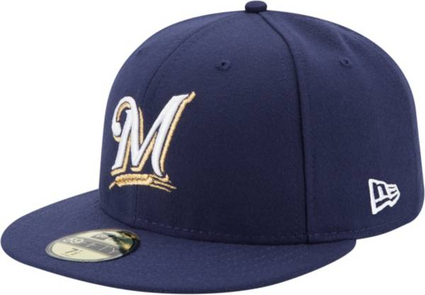New Era Men's Milwaukee Brewers 59Fifty Game Navy Authentic Hat product image