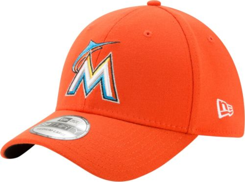 9c565446abf17 New Era Men s Miami Marlins 39Thirty Orange Stretch Fit Hat