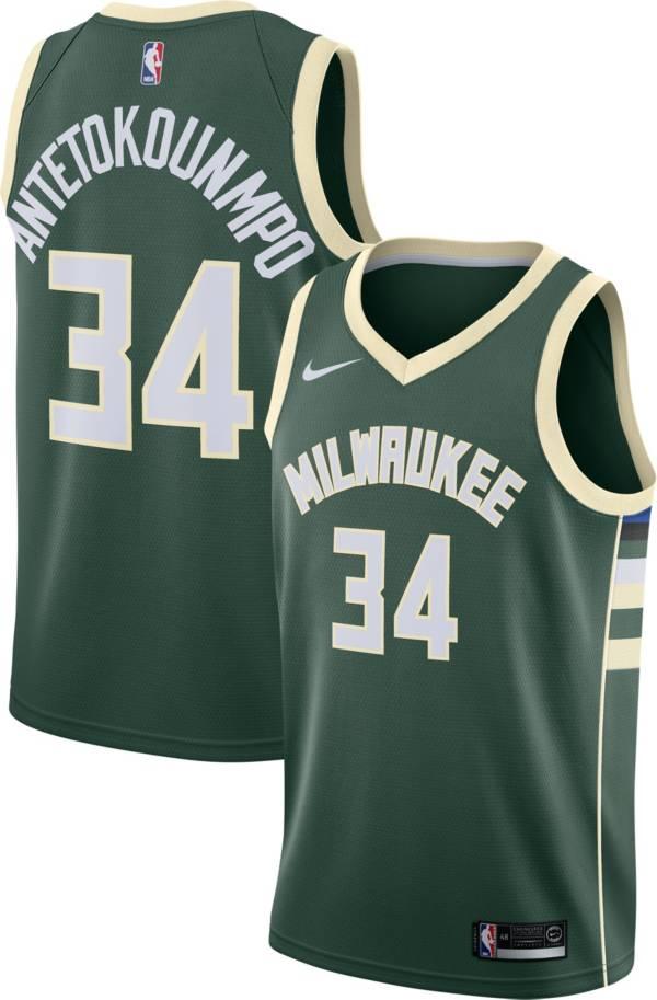 Nike Men's Milwaukee Bucks Giannis Antetokounmpo #34 Green Dri-FIT Swingman Jersey product image
