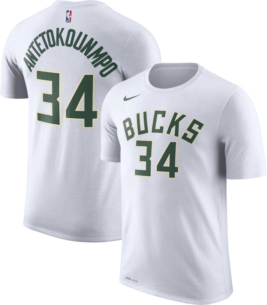 c9788b994 Nike Men's Milwaukee Bucks Giannis Antetokounmpo #34 Dri-FIT White T-Shirt