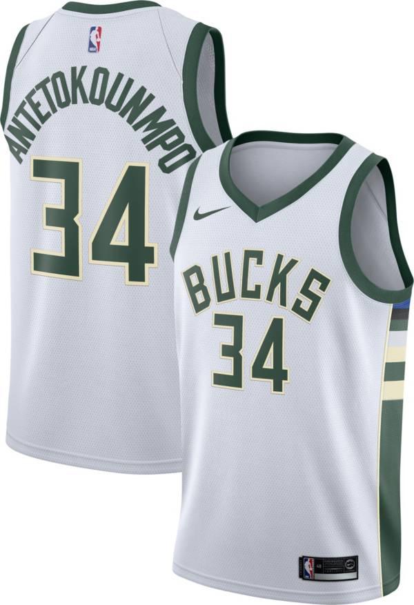Nike Men's Milwaukee Bucks Giannis Antetokounmpo #34 White Dri-FIT Swingman Jersey product image