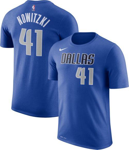 2d7f469ce7d1 Nike Men s Dallas Mavericks Dirk Nowitzki  41 Dri-FIT Royal T-Shirt ...