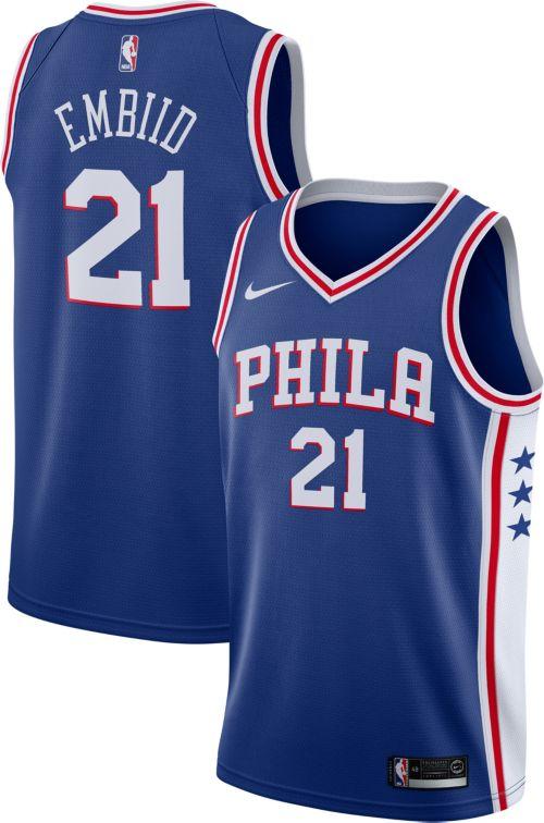 bc6c2e2ec66 Nike Men s Philadelphia 76ers Joel Embiid  21 Royal Dri-FIT Swingman ...